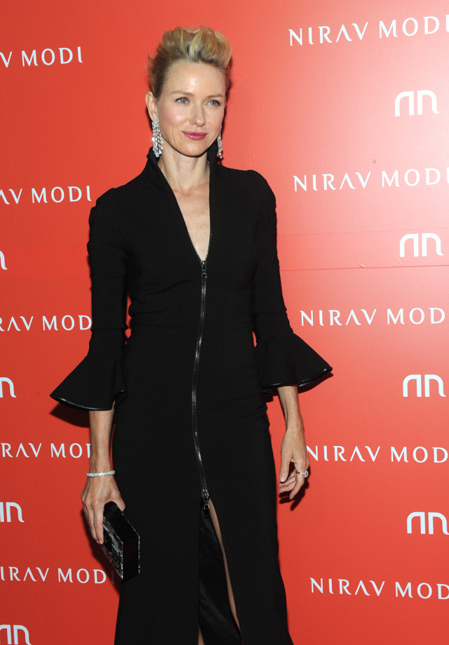 Actress Naomi Watts wore Nirav Modi Ainra Waterfall earrings to the official opening of the Madison Avenue boutique on September 8, 2015.