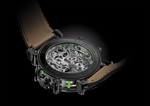 The hand-decorated in-house skeleton movement, has a 70-hour power reserve.